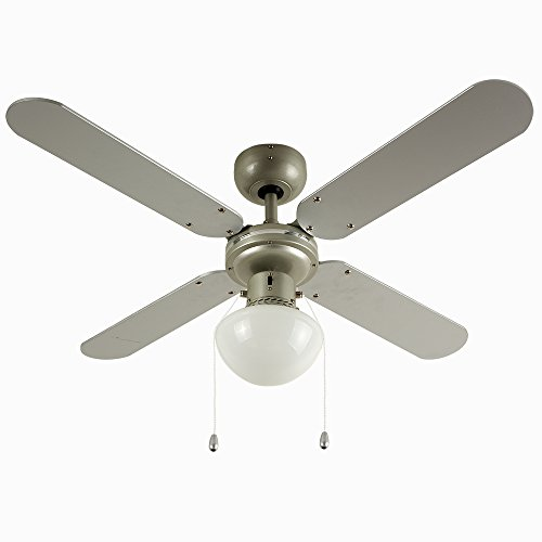 """MiniSun 42"""" Metal Grey Modern Ceiling Fan With Frosted Opal Glass Light Shade And 4 x Reversible Silver / Black Blades Test"""