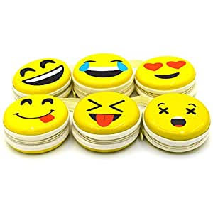 FreshDcart Kid's Round Smiley-Zipper Purse with Metal Tin Pouch for Earphones Cable (Yellow) - Pack of 2