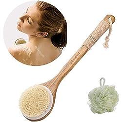 Badebürsten / Rückenbürste, 2 in 1 Badebürste und Bath Ball Set, Dusche Naturborste Kardätsche, Verbessert die Durchblutung , reduziert Cellulite ,Verbessert die Haut Gesundheit für Damen & Herren