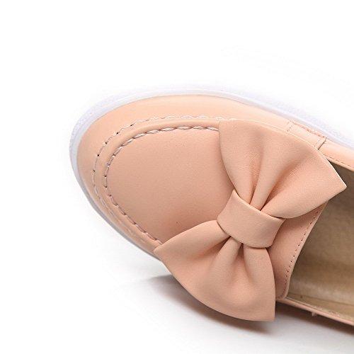 AgooLar Femme Rond à Talon Bas Matière Mélangee Tire Couleur Unie Chaussures Légeres Rose