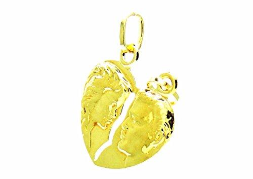 Pegaso gioielli - ciondolo oro giallo 18kt cuore che si spezza lucido con volti - pendente san valentino uomo donna