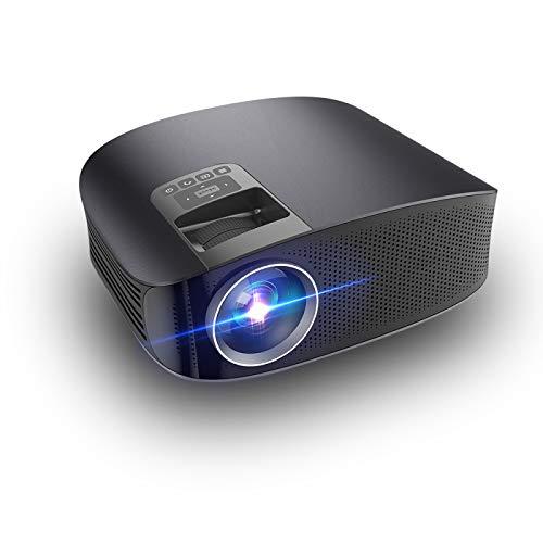 LULUKEKE Projektor, YG610 Heimkino-Projektor, 3600 Lumen 1080P HD-Projektor, Kabelgebundenes Sync-Display, Kann direkt an Das Telefon angeschlossen Werden.