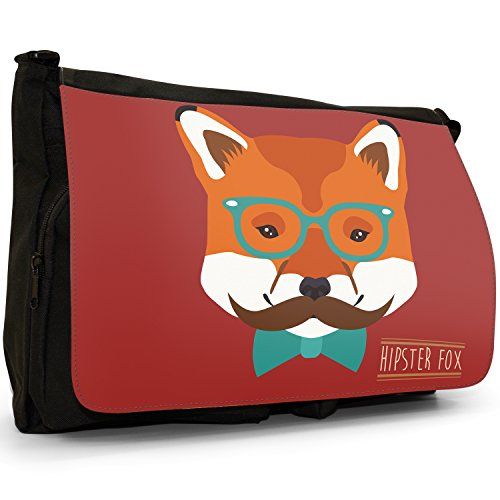 Hipster Bohemian animali grande borsa a tracolla Messenger Tela Nera, scuola/Borsa Per Laptop Hipster Bohemian Trendy Fox