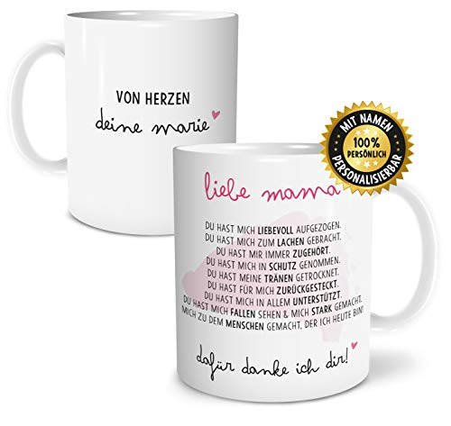 OWLBOOK Danksagung Mama große Kaffee-Tasse mit Namen personalisiert im Geschenkkarton schöne Geschenkidee Geschenke für Mutti