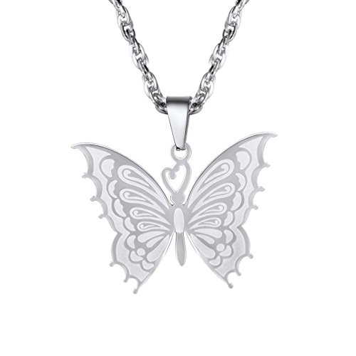 Prosteel donna collana pendente cindolo di farfalla con incisione delicata, catena regolabile 55 60 cm, acciaio inossidabile, argento, con confezione, regalo per anniversario san valentino