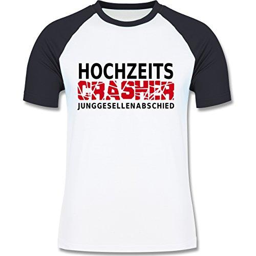 JGA Junggesellenabschied - Hochzeit Crasher - zweifarbiges Baseballshirt für Männer Weiß/Navy Blau