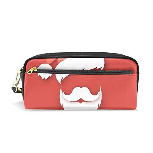 Federmäppchen mit Reißverschluss, große Make-up-Tasche, Weihnachtsmütze und Bart Bleistifttasche für Jungen und Mädchen