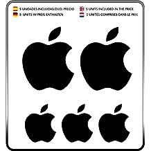 Logo Apple manzana Kit 5 pegatinas Color Negro (Black)- Iphone - Ipad - Ipod