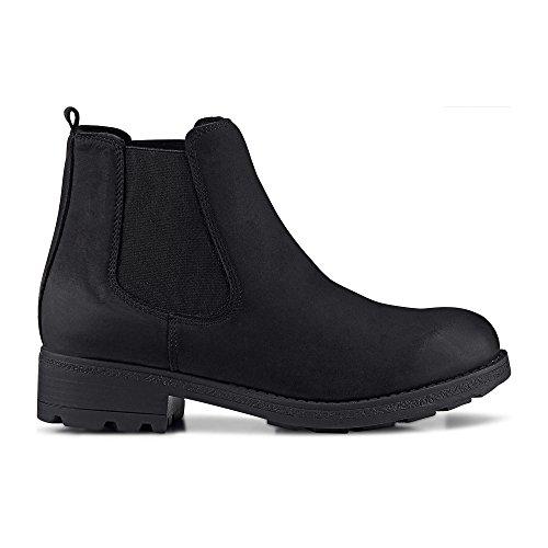 Cox Erwachsene (Unisex) Chelsea Boots - Klassische Stiefelette - Booties - Nubukleder - Chelsea Stiefelette - Ankle Boots - profilierte Laufsohle Schwarz Leder 40