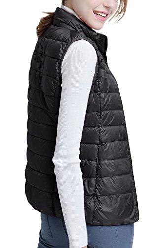 ZSHOW Femme Gilet Doudoune Sans Manche Léger Manteau Veste Chaud Fermeture Éclair D'hiver et Printemps Noir