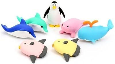 Ensemble de 7 gommes Iwako animaux marins