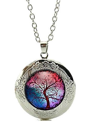 Amulett / Foto-Medaillon zum Öffnen - Motiv: Magischer Baum Lebensbaum (03) - Farbe: Silber / Silberschmuck / Indianerschmuck