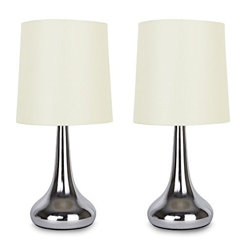 Pair Of   Modern Chrome Teardrop Touch Table Lamps With Cream Fabric Shades