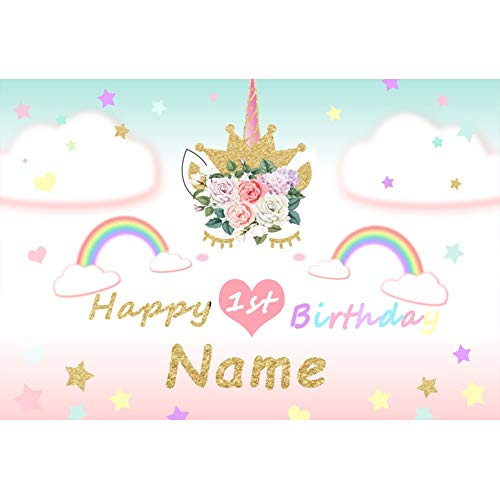 yester Einhorn Fotohintergrund Alles Gute zum 1 Geburtstag Banner Name Regenbogen Wolken Sterne Fotoleinwand Hintergrund für Fotostudio Requisiten Party Baby Kinder Photo Booth ()