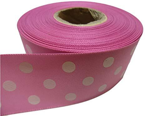 Rosa Polka-dot Satin (2Meter x 38mm Polka Dot Satinband hell rosa mit weiß Spots/Punkte 38mm)
