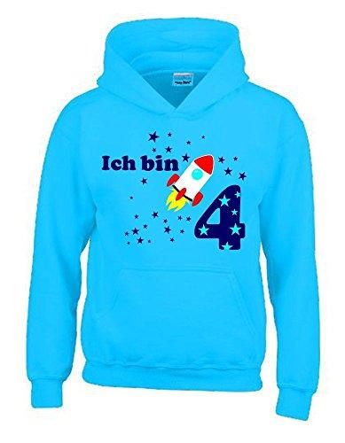 Ich bin 4 Jahre ! - Kinder Geburtstag RAKETE Sweatshirt mit Kapuze HOODIE jungs Birthday sky, Gr.116cm