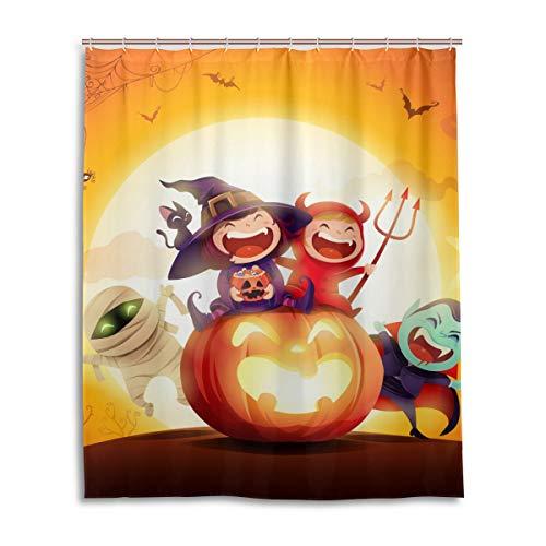 JSTEL Deko-Duschvorhang Halloween Kinder Kostüm Party Muster Druck 100% Polyester Stoff Duschvorhang 152,4 x 182,9 cm für Zuhause Badezimmer Deko Duschvorhang