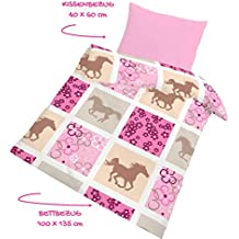 Herzen /& Blumen Rosa ELEFANT Fein Biber Babybettw/äsche Kinderbettw/äsche M/ädchen  HAPPY ELEFANT  Elefanten Tiere Kissenbezug 40x60 Pink Bettbezug 100x135 cm