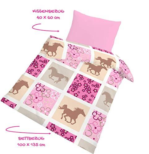 PFERDE Fein Biber Babybettwäsche - Kinderbettwäsche Mädchen · Pferd · Blumen · Karo Muster pink, rosa - Kissenbezug 40x60 + Bettbezug 100x135 cm - 100 % Baumwolle - mit Reißverschluss