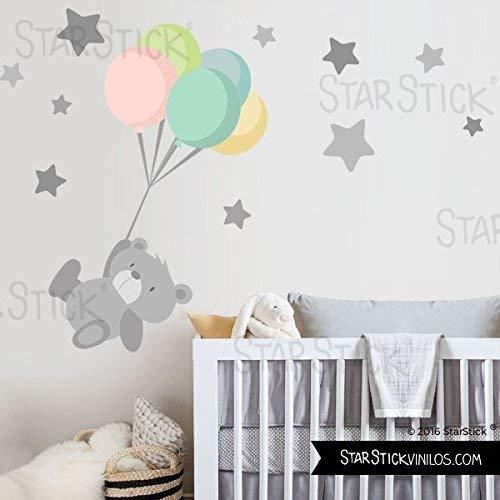 StarStick - Vinilo bebé Tierno osito con globos - T2 - Mediano 160x100 cm