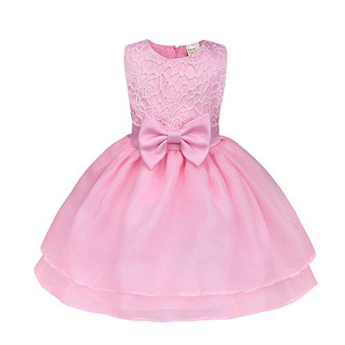Babykleidung❀❀ JYJMBlume Baby Mädchen Prinzessin Brautjungfer Pageant Kleid Geburtstag Party Brautkleid (Größe:12 Monate, Rosa) (Prom Ballkleid Pageant)