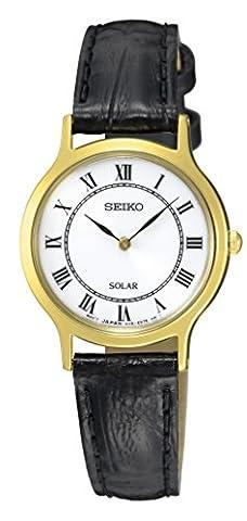Seiko Damen-Armbanduhr Solar Analog Quarz Leder (Riserva Orologio Di Lusso)