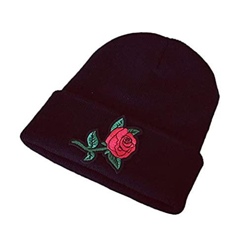 Cinnamou Women Winter Keep Warm Rose Embroidery Applique Crochet Ski Hat Braided Cap (A)