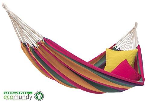 ECOMUNDY PURE XL RAINBOW - Hamac double luxe aux couleurs de l'arc-en-ciel - coton bio - tissé à la main - GOTS marque de qualité