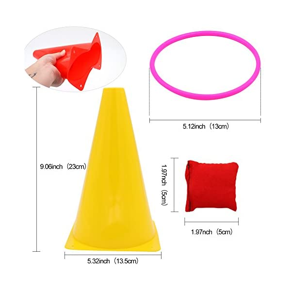 OurWarm 3 in 1 Ring Toss Game Set Soft Traffic Cone Bean Bags for Throwing, 26pcs Puzzle Carnival Garden Backyard… 2