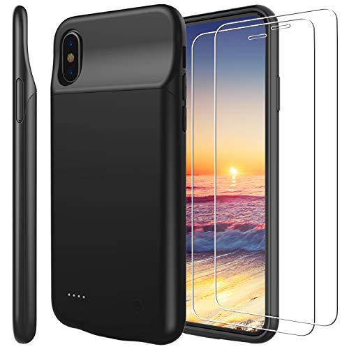 Funda Batería iphone x , PEMOTech [Compatible con Auriculares de Rayos] 3200mAh Batería recargable externa ultra delgada Protector portátil Carga caso de prueba de choque para Apple iPhone X