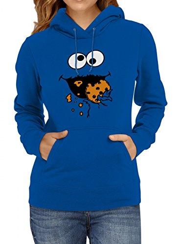 Shirt Happenz Kostüm Krümelmonster Premium Hoody   Verkleidung   Karneval Hoodies   Fasching   Frauen   Kapuzenpullover, Farbe:Blau;Größe:M
