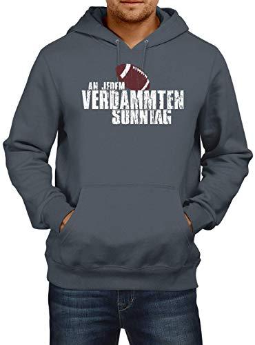 Shirt Happenz An jedem verdammten Sonntag Football Premium Hoodie Herren Kapuzenpullover, Größe:XXL, Farbe:Dunkelgrau
