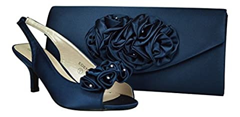 Chic Feet Womens Navy Blue Satin Prom Wedding Bridal Sandals Ladies Peep Toe Low Heel Party Shoes & Matching Bag- UK Size