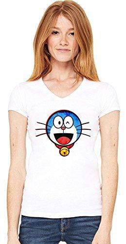 Gebraucht, Cute Doraemon Face Damen V-Ausschnitt T-Shirt Large gebraucht kaufen  Wird an jeden Ort in Deutschland