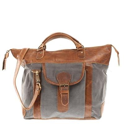 LECONI véritable cuir + toile canvas sac à main sac porté épaule femme vintage style sac à bandoulière 39x30x13cm LE0043-C