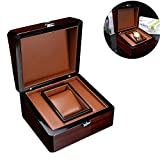 Angela 2 Stück Premium glänzende hölzerne Armbanduhr Box, Aufbewahrungskoffer, mit Ringtasche, handgefertigtem Vintage-Design, 1 Steckplatz, tollem Geburtstags- und Partygeschenk