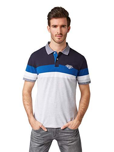 Yarn Dye Stripe Shirt (TOM TAILOR für Männer Poloshirts Gestreiftes Poloshirt Light Grey Mel Yarn dye Stripe, L)