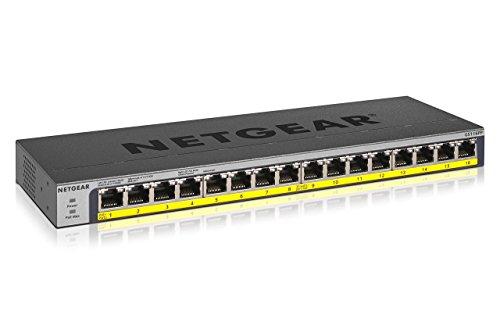 NETGEAR GS116PP 16-Port Gigabit Ethernet Unmanaged PoE Switch (mit 16x PoE+ 183W erweiterbar, Desktop- oder Rack-Montage mit  ProSAFE Lifetime-Garantie)