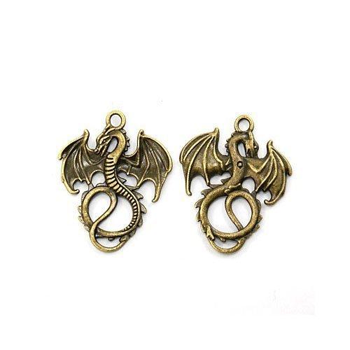 Paket 10 x Steampunk Antik Bronze Tibetanische 35mm Charms Anhänger (Drachen) - (ZX02905) - Charming Beads