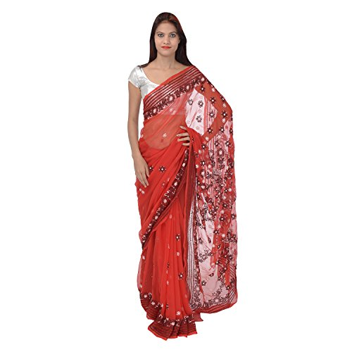 Saundarya Sarees Women Georgette Chikan Red and Black Saree
