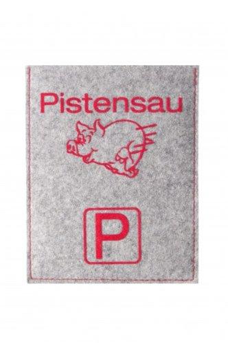 Preisvergleich Produktbild Parkscheibenhülle inkl. Parkscheibe mit Aufschrift - Pistensau Filzfarbe silbergrau, Flockfarbe rot