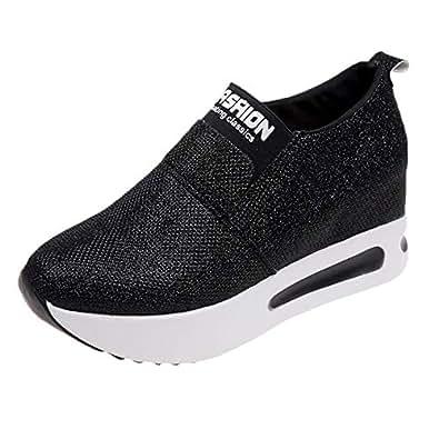 BHYDRY Sneaker Donna Piatto Scarpe Fondo Spessore Slip on Stivaletti Platform Scarpe Sportive(35 EU,Nero)