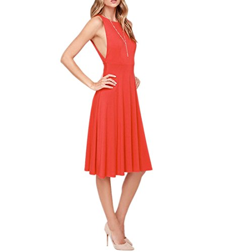 QIYUN.Z Frauen Reizvolles Sleeveless Backless Duennes Cocktail Tunika Plissierten Sommerkleid Party Rote