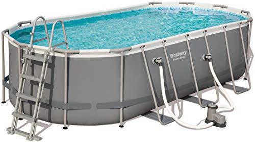 Bestway Power Steel Frame Pool oval mit stabilem Stahlrahmen im praktischen XL-Komplett-Set, 549x274x122 cm