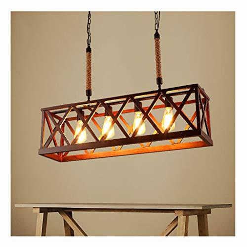 Y.H_Super Holz lineare Insel Kronleuchter 4-Licht Küchentisch Licht rustikale Beleuchtung - Vintage Loft Restaurant Pendelleuchten -