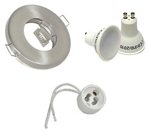 5Watt LED Bad Einbaustrahler IP65 Farbe: Edelstahl gebürstet GU10 Fassung - warmweiss
