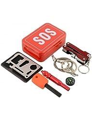 JUNQL& Kit de Supervivencia Senderismo / Camping / Viaje / Al Aire Libre Primeros auxilios / Emergencia aluminio Rojo