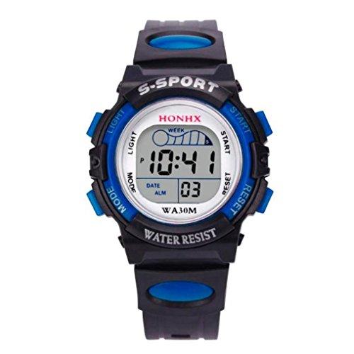 Valentinstag Uhren Dellin Wasserdichte Kinder Jungen Digital LED Sportuhr Kinder Alarm Datum Uhr Geschenk (Blau)