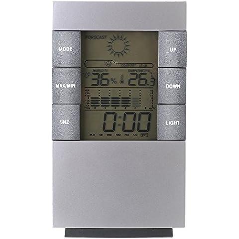 Topop Mini Estaciones Meteorológicas para Hogar, 4 en 1 Reloj Despertador Termómetro Calendario Digital con Patalla LCD humedad