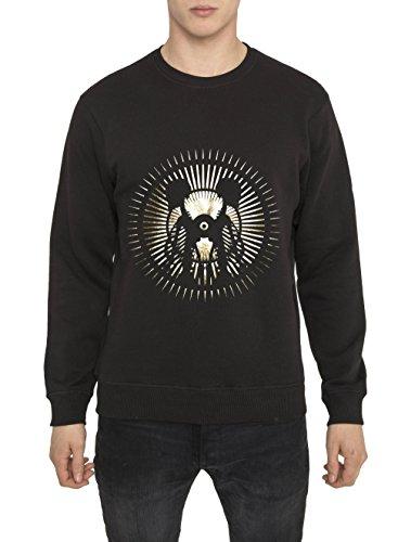 Felpe Moda Urban da Uomo, Top Designer Fashion Rock, Felpa Metallica, Nera con Stampa GOLD MOON Sweatshirt 100 Cotone Jersey, Girocollo, Manica Lunga, Tops Cool Gothic Style per Uomo S M L XL XXL